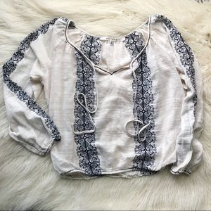 Boho Embroidered Blouse with Tie Neckline